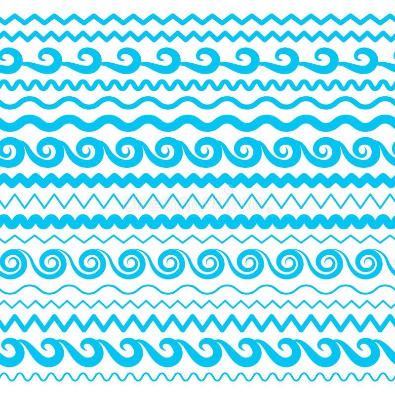 Linhas sem emenda das beiras, da Aqua Elements ou da maré do vetor de ondas da água do mar ilustração do vetor