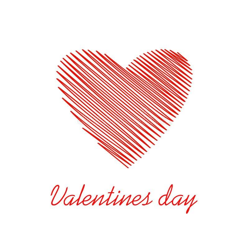 Linhas simples na forma de um coração vermelho para o dia de Valentim Conceito de projeto creativo Ilustração do vetor Copie o es ilustração royalty free