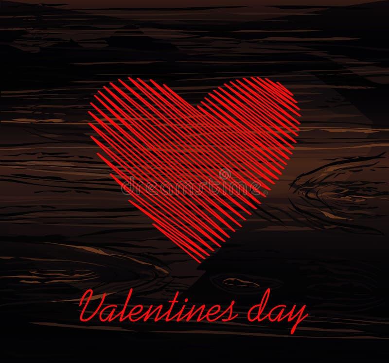 Linhas simples na forma de um coração vermelho para o dia de Valentim Conceito de projeto creativo Ilustração do vetor no fundo d ilustração royalty free