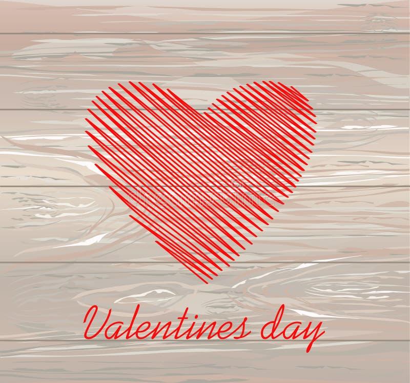 Linhas simples na forma de um coração vermelho para o dia de Valentim Conceito de projeto creativo Ilustração do vetor no fundo d ilustração stock
