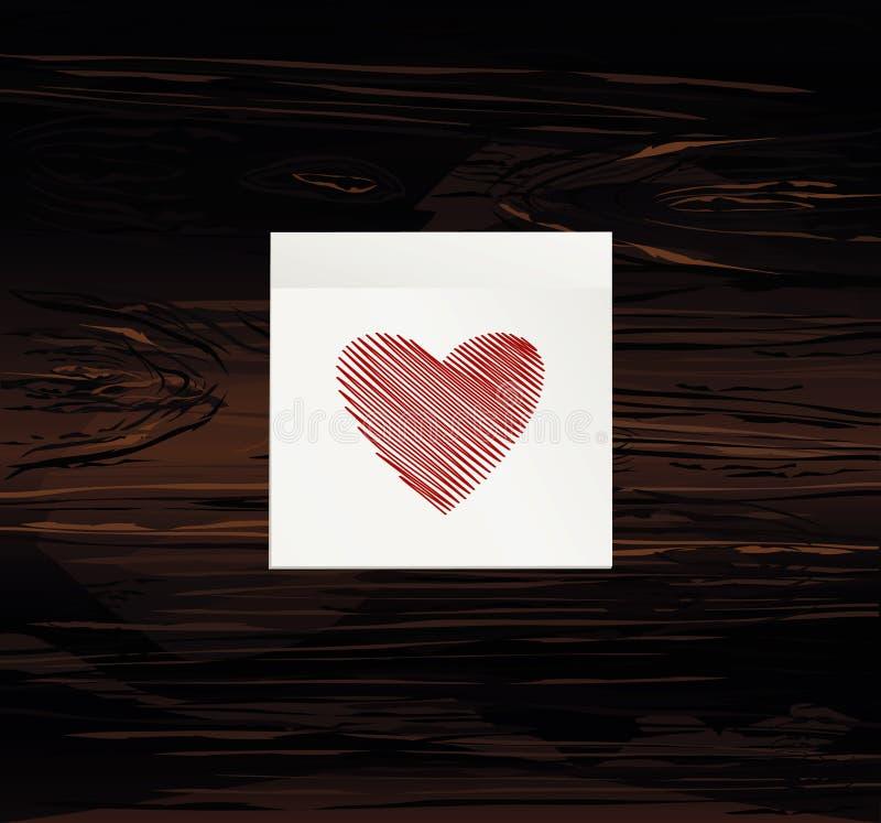 Linhas simples na forma de um vermelho do coração em uma etiqueta para o dia de Valentim Conceito de projeto creativo Ilustração  ilustração royalty free