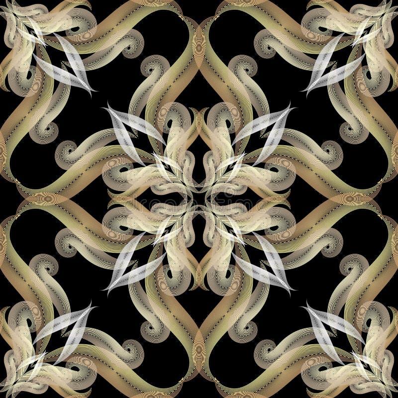 Linhas teste padrão sem emenda do ouro do vetor 3d vibrante Fundo árabe floral decorativo do vintage Linha tirada mão damasco de  ilustração stock
