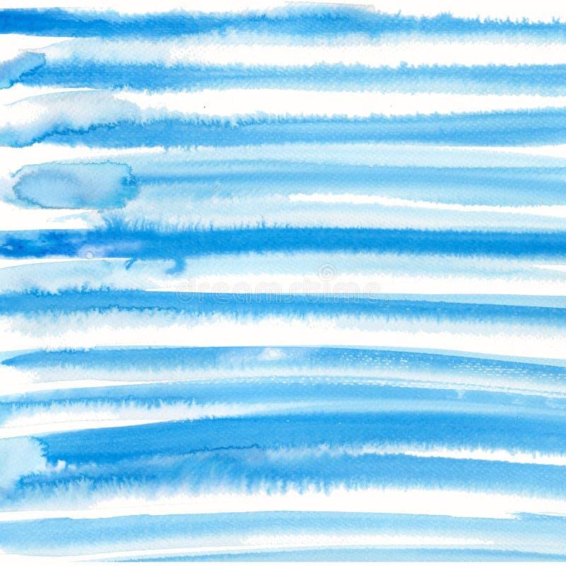 Linhas textured decorativas pintados à mão da aquarela na cor dos azul-céu Fundo abstrato do estilo moderno delicado ilustração stock