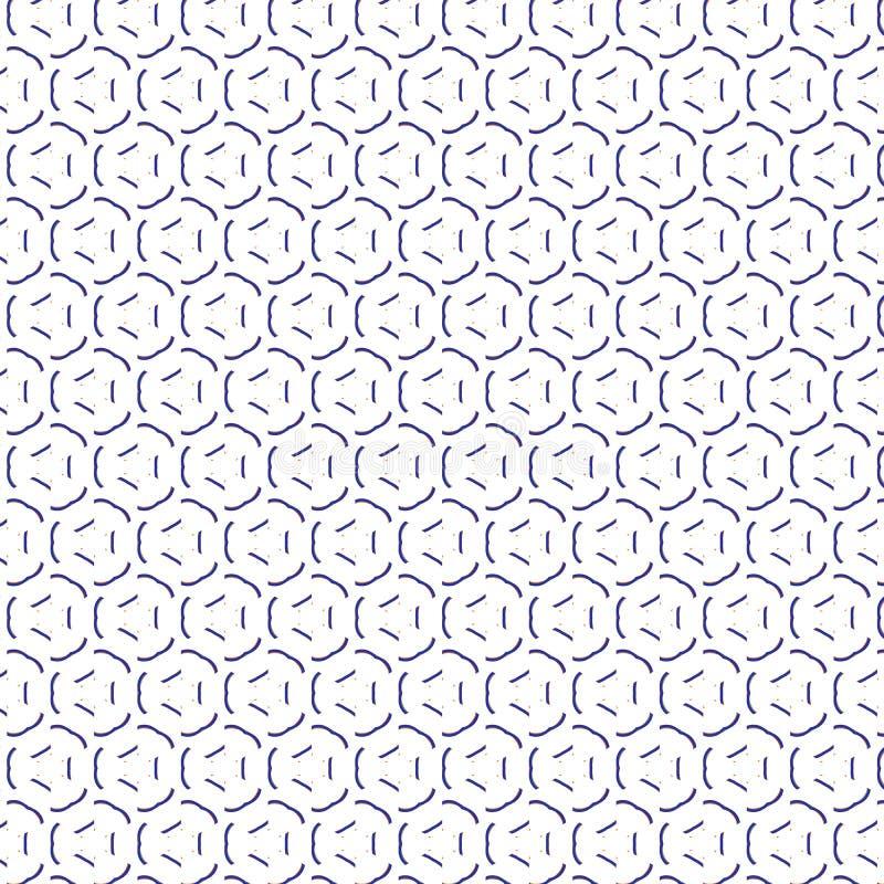 Linhas tiradas brancas pretas arredondadas simples fundo sem emenda do teste padrão da ilustração da tela ilustração do vetor