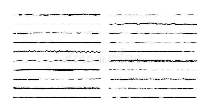 Linhas tiradas mão da garatuja Escreva o curso sublinham o esboço, grupo da beira do grunge da pena, elementos do quadro dos dese ilustração royalty free