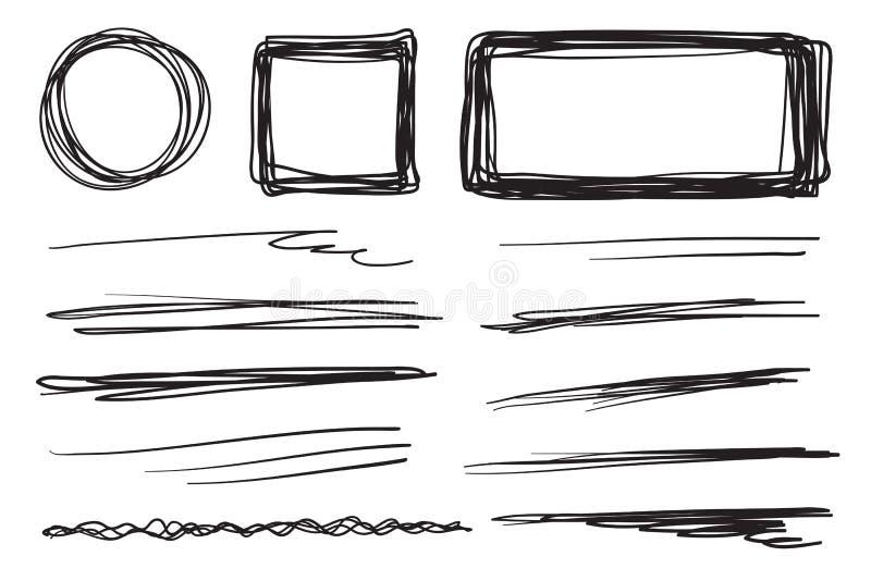 Linhas tiradas mão no fundo isolado Texturas caóticas com choque Contextos tangled ondulados Ilustração preto e branco ilustração royalty free