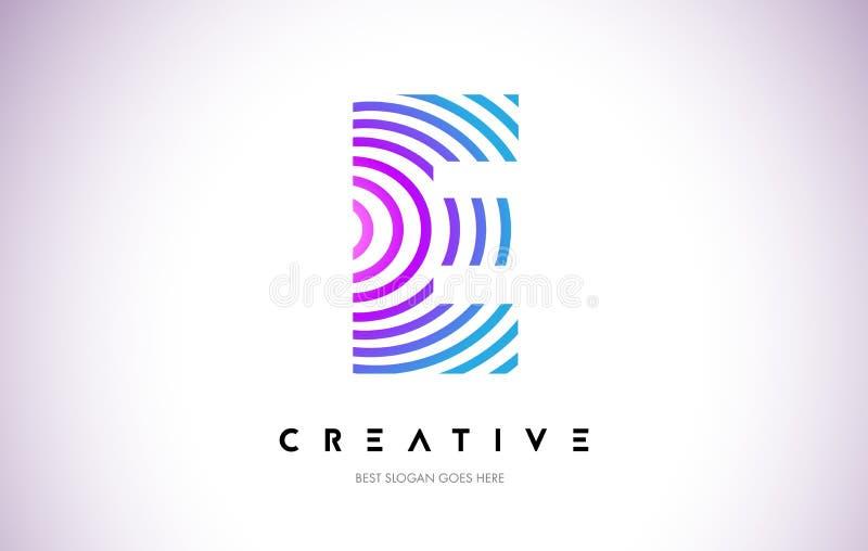 Linhas urdidura Logo Design de E Ícone da letra feito com circular roxa ilustração royalty free