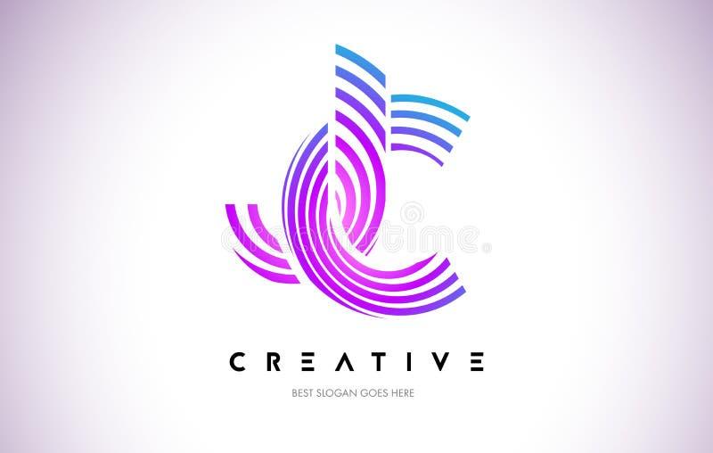 Linhas urdidura Logo Design de JC Ícone da letra feito com circular roxa ilustração stock
