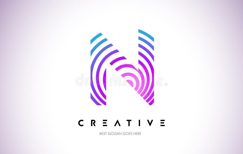 Linhas urdidura Logo Design de N Ícone da letra feito com circular roxa ilustração royalty free