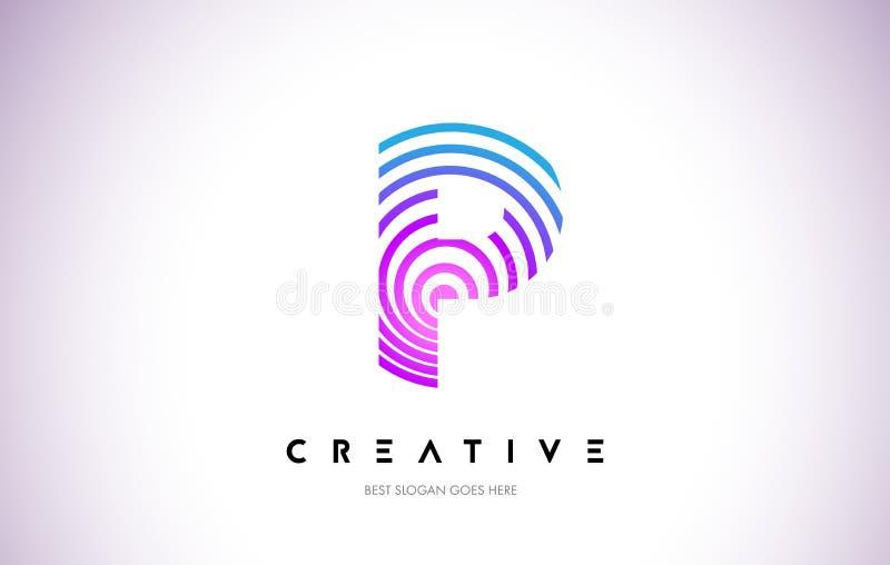 Linhas urdidura Logo Design de P Ícone da letra feito com circular roxa ilustração stock