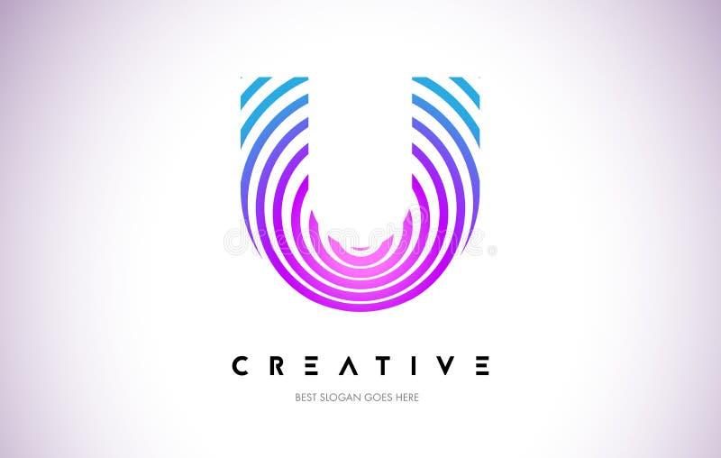 Linhas urdidura Logo Design de U Ícone da letra feito com circular roxa ilustração stock