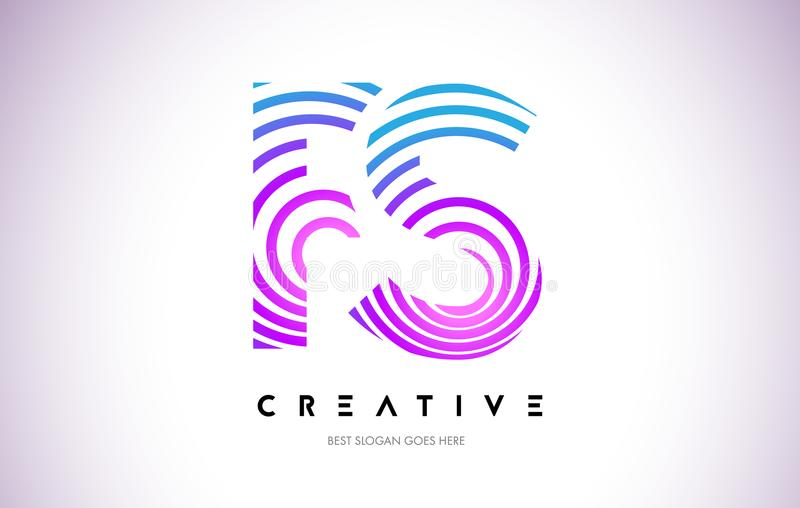 Linhas urdidura Logo Design do FS Ícone da letra feito com circular roxa ilustração royalty free