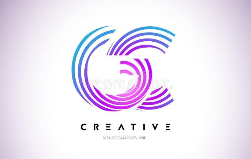 Linhas urdidura Logo Design do GC Ícone da letra feito com circular roxa ilustração stock