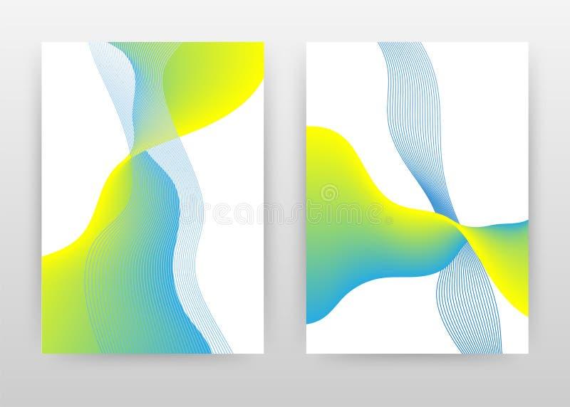 Linhas verdes azuis onduladas desenho para relatório anual, folheto, folheto, cartaz. Ilustração de vetor de fundo isolado de o fotos de stock royalty free