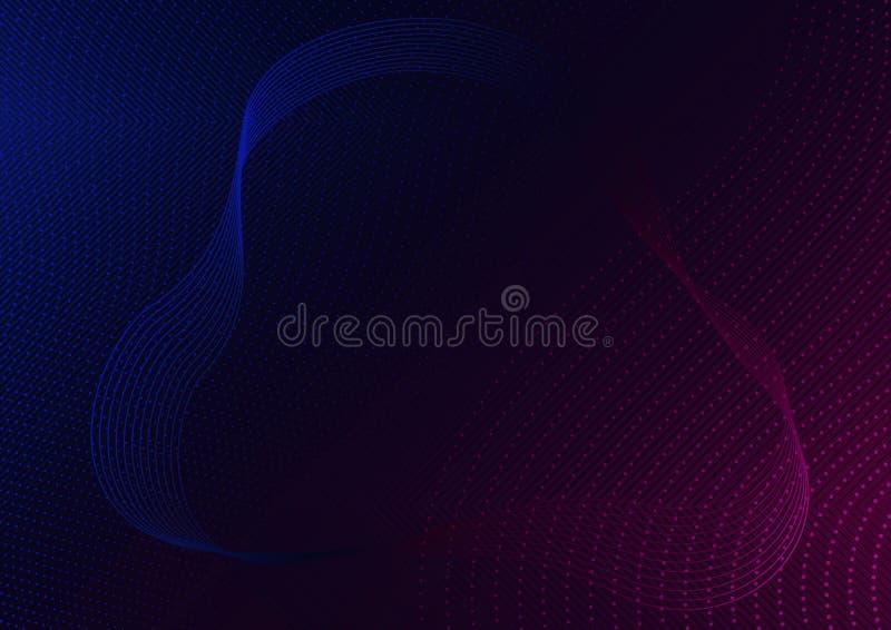 Linhas Vermelho-azuis abstratas e ondas pontilhadas no preto ilustração stock