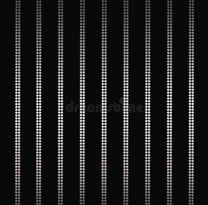 Linhas verticais brilhantes de prata elegantes, cortina do encanto do fundo das listras isolada no preto ilustração stock