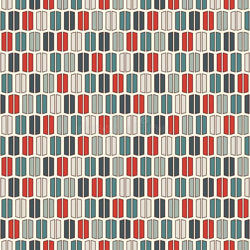 Linhas verticais fundo das cores retros Papel de parede minimalista Teste padrão sem emenda com ornamento geométrico Listra o mot ilustração stock