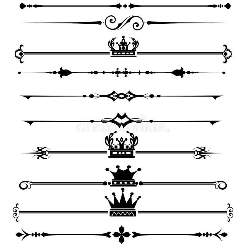 Linhas vintage decorativo da regra das beiras ilustração royalty free
