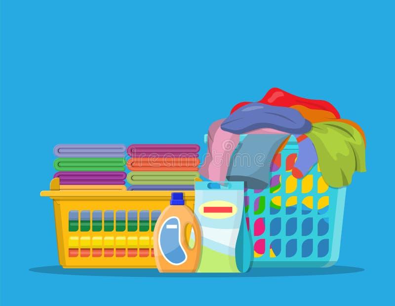 Linho ou roupa da lavanderia nas cestas ilustração royalty free