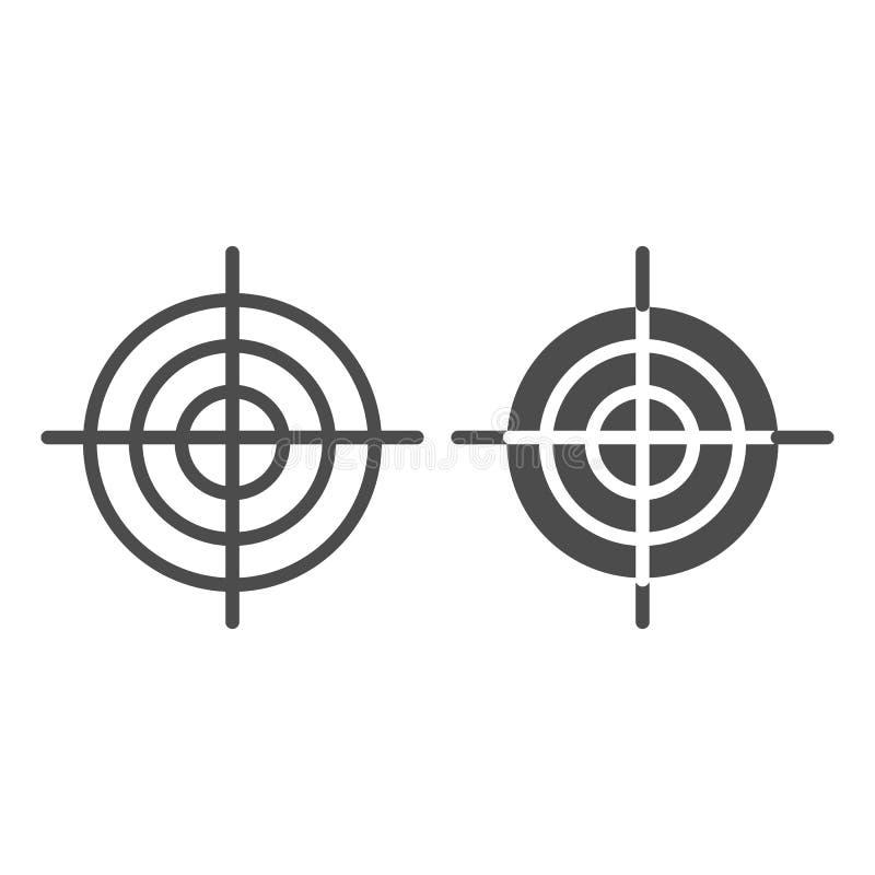 Linia bramkowa i glif ikona Cel wektorowa ilustracja odizolowywająca na bielu Celu konturu stylu projekt, projektujący dla sieci  ilustracji