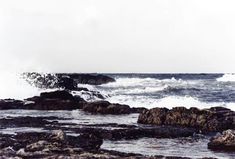 Linia brzegowa, Adriatycki morze, kipieli łamanie na skałach fotografia royalty free
