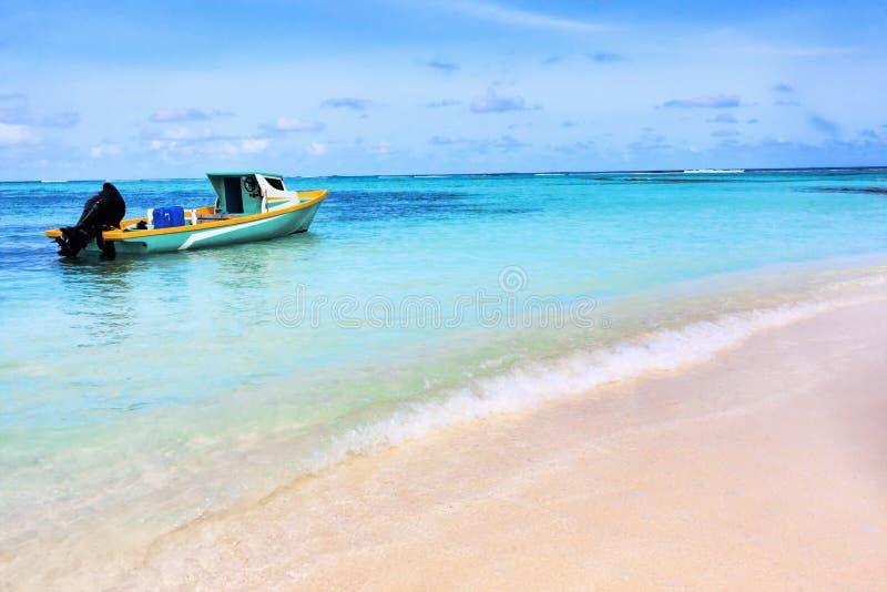 Linia brzegowa bezludny atol przy Maldives wyspami obraz stock