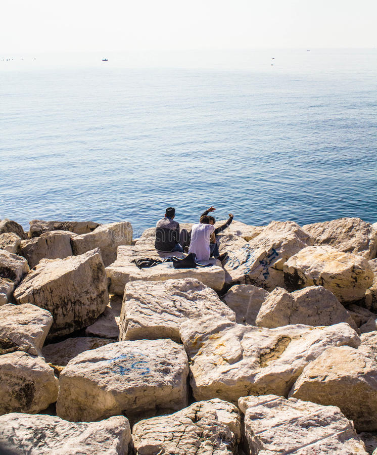 Linia brzegowa blisko do Napoli, Włochy zdjęcie royalty free