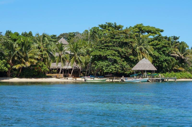 Linia brzegowa kurortu tropikalny morze karaibskie Panama fotografia royalty free