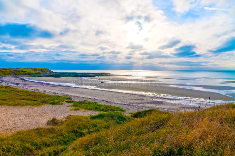 Linia brzegowa Opalowy wybrzeże w Pas de Calais, Francja (Cote d'Opale) zdjęcia stock