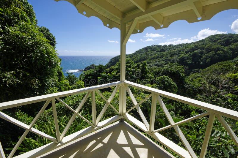Linia brzegowa pobliski Grodowy Bruce, Dominica wyspa zdjęcia royalty free