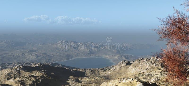 linia brzegowa pustynny halny widok ilustracji