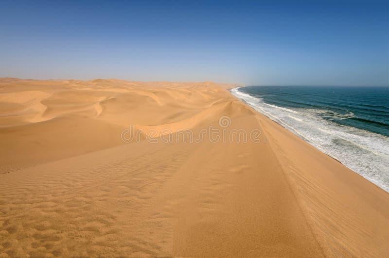 Linia brzegowa w Namib pustyni kanapki pobliskim schronieniu fotografia royalty free