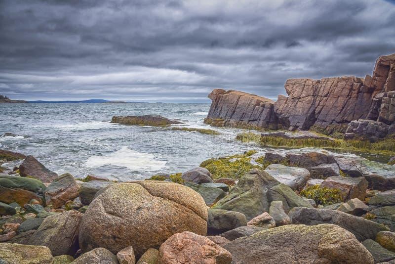 Linia brzegowa z skałami przy Acadia parkiem narodowym, Prętowy schronienie, Maine zdjęcia royalty free