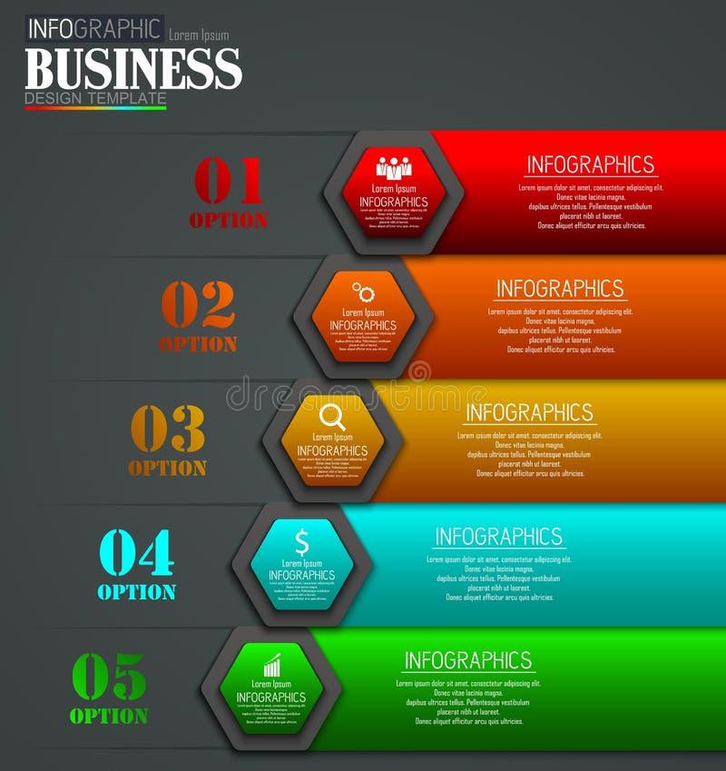 Linia czasu Infographic dane unaocznienia projekta szablonu Biznesowy pojęcie z 5 opcjami ilustracja wektor