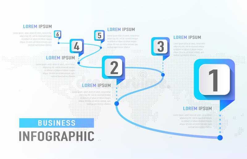 Linia czasu infographic 6 kamień milowy lubi drogę Biznesowego pojęcia infographic szablon również zwrócić corel ilustracji wekto ilustracja wektor