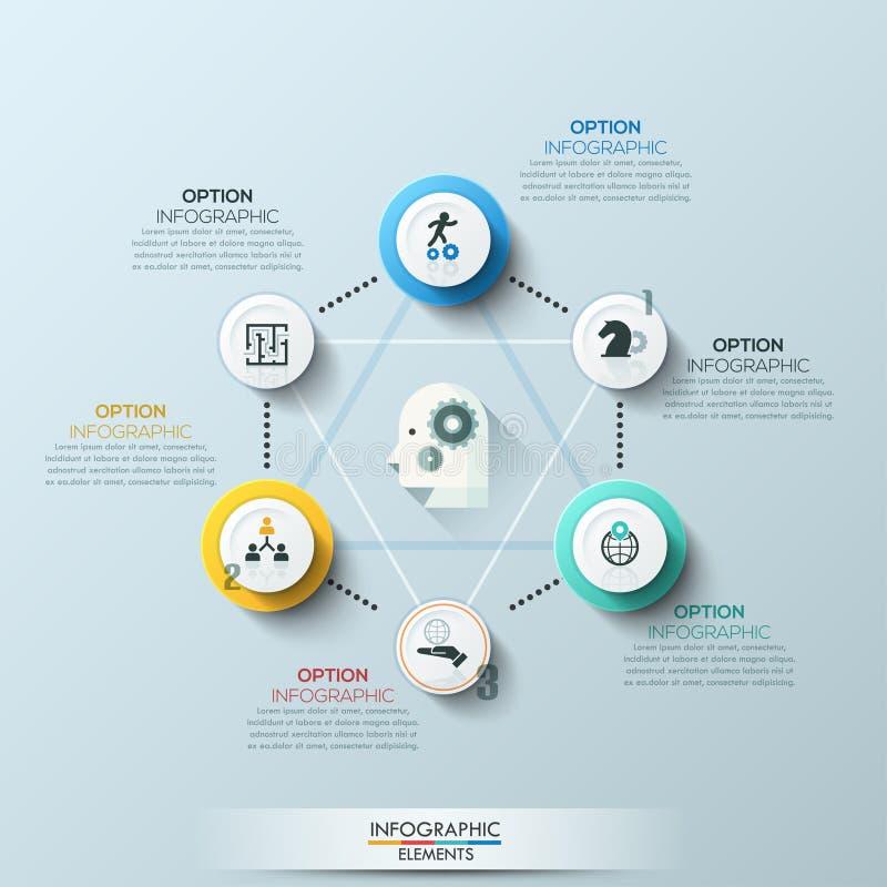 Linia czasu infographic szablon również zwrócić corel ilustracji wektora Może używać dla obieg układu, sztandar, diagram, numerow ilustracja wektor