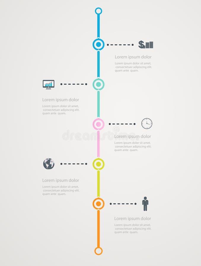 Linia czasu Infographic z biznesowymi ikonami, krok struktura sukces royalty ilustracja