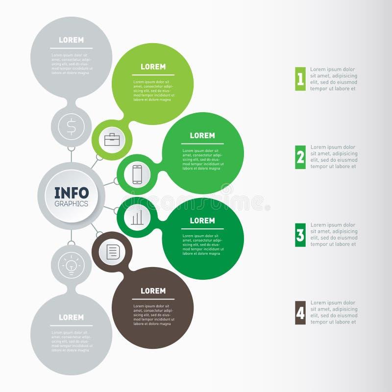 Linia czasu Infographics Przyrost eco autobus i rozwój ilustracja wektor