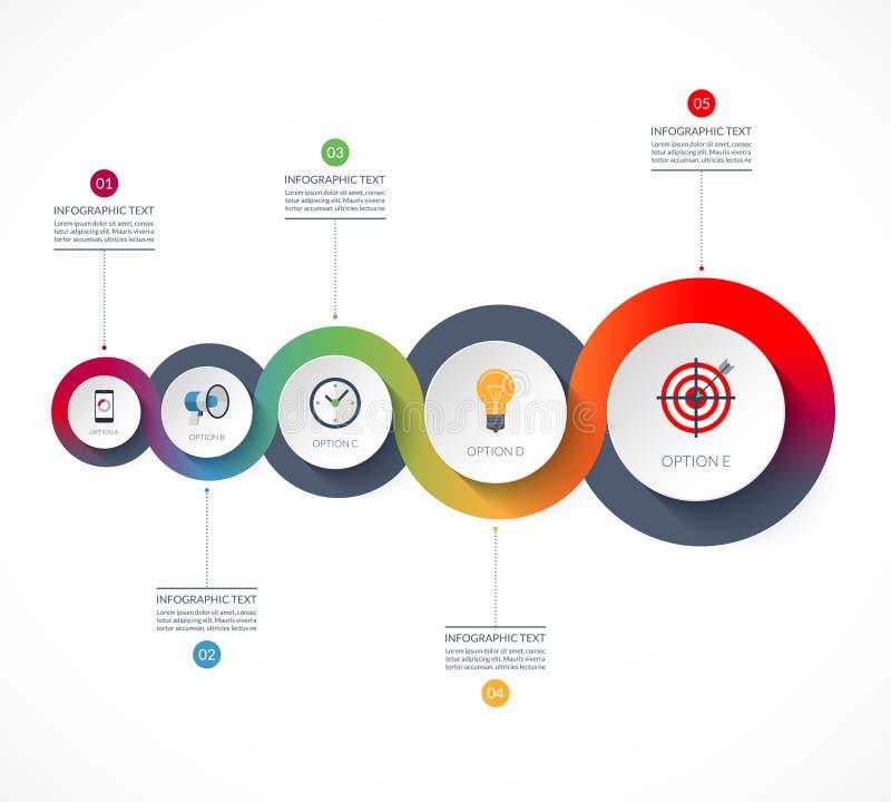 Linia czasu Infographics Wektorowy sztandar z 5 opcjami royalty ilustracja