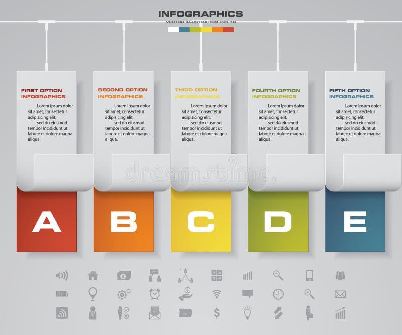 Linia czasu 5 kroków projekta infographic wektorowy szablon z biznesowymi ikonami ilustracji
