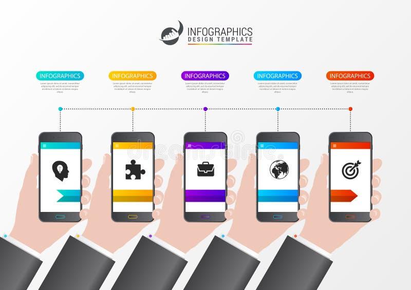 Linia czasu projekta infographic szablon z telefonami wektor ilustracji
