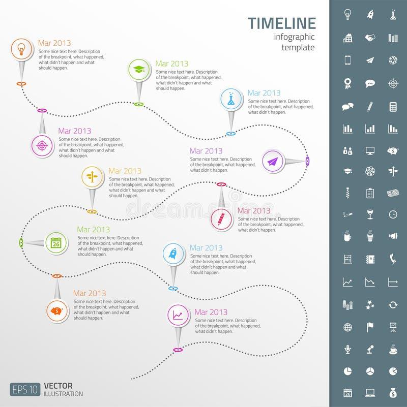 Linia czasu szablon w majcheru stylu z setem ico ilustracji