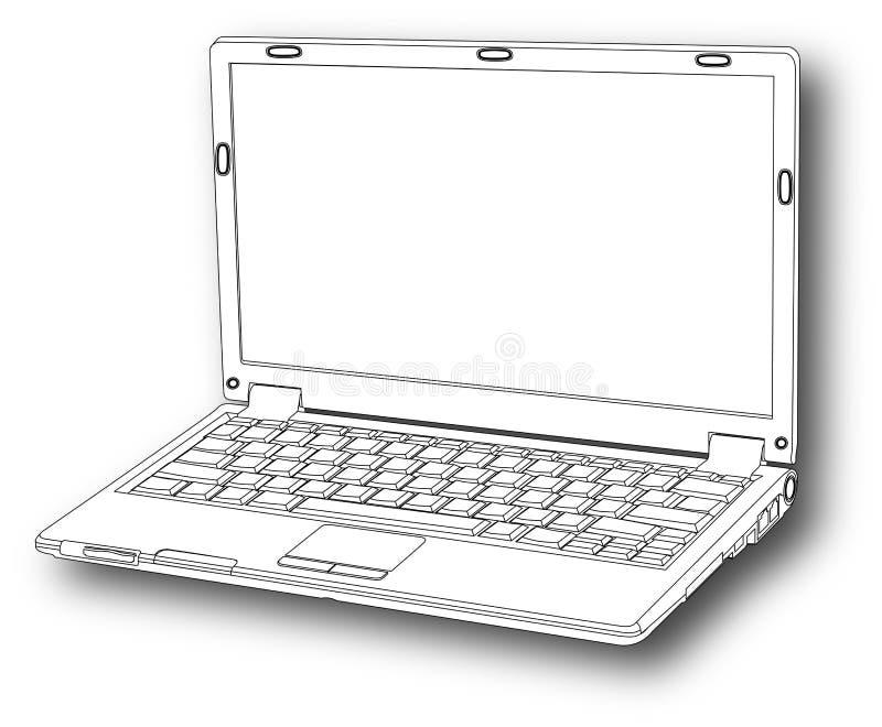 linia drwg laptopa royalty ilustracja