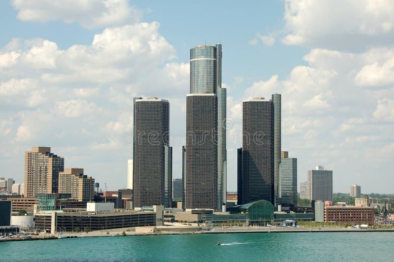 linia horyzontu detroit trzy wieże zdjęcia royalty free