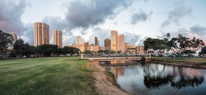 Linia horyzontu Honolulu zdjęcia stock