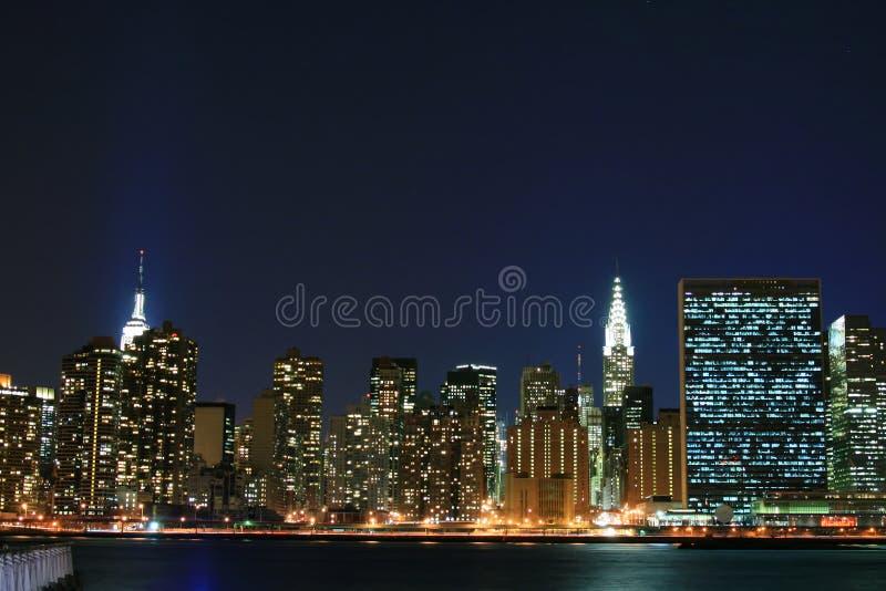 linia horyzontu nocy manhattan fotografia stock