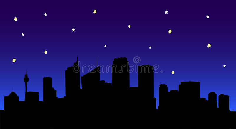 linia horyzontu nocy miasto royalty ilustracja