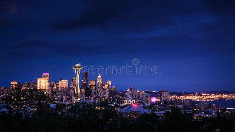 linia horyzontu nocy Seattle zdjęcia stock