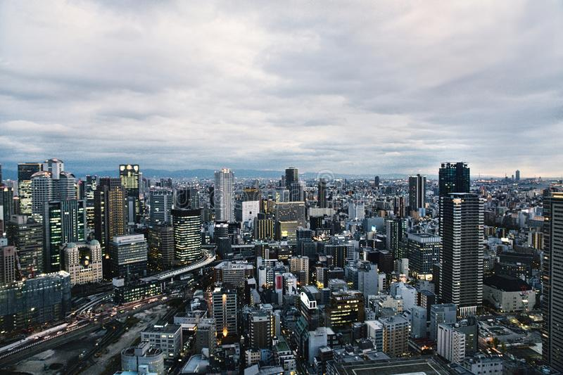 Linia horyzontu Osaka, Japonia obrazy royalty free