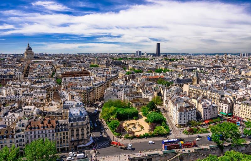 Linia horyzontu Paryż z widokiem na Łacińskiej ćwiartce Paryż arrondissements Paryż, 5th i 6th zdjęcie royalty free
